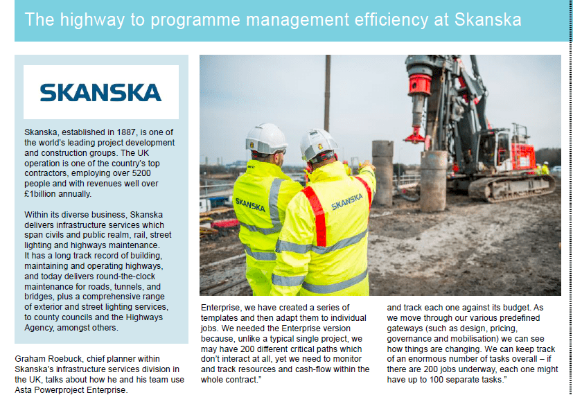Asta Powerproject Case Study – Skanska